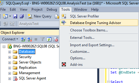 Pic2. Open option from SSMS Tools Menu