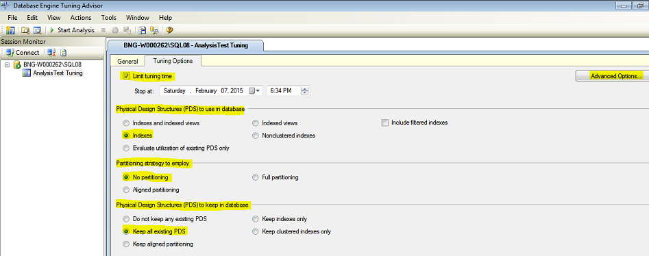 Pic 6 Screen elements - Tuning Options tab