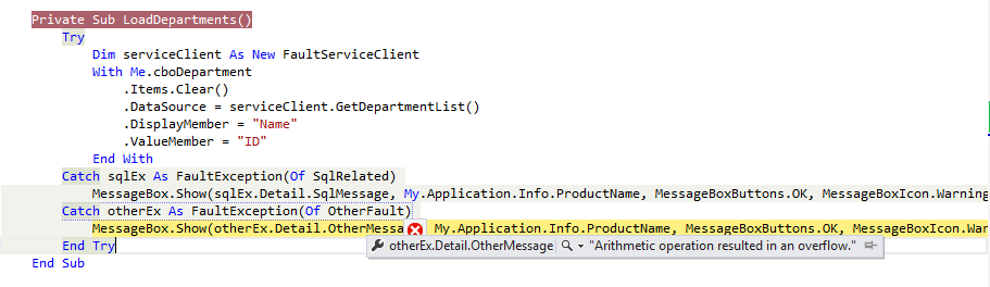 Propagating exception details through FaultContract in client application