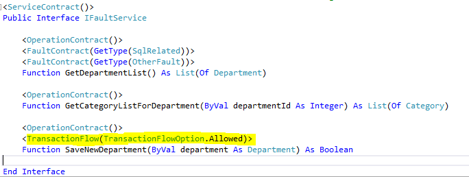 Setting TransactionFlow attribute in OperationContract