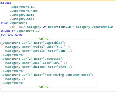 Basic usage of FOR XML AUTO