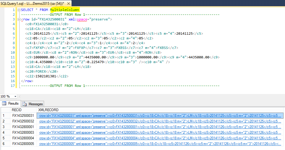 Example of multiple column multi valued data in XML