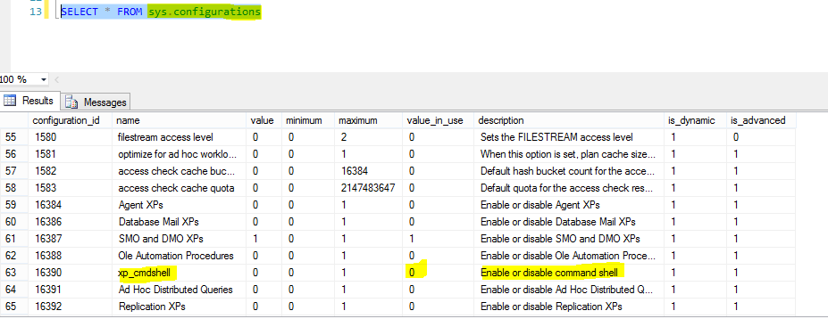 Querying sys.configuration