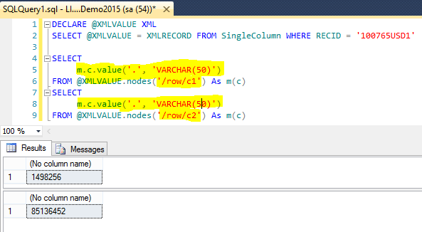 values for 'c1' and 'c2' has been extracted using nodes and value functions in XML